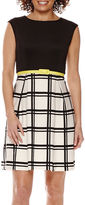 Studio 1 Sleeveless Window Pane Belted Fit-and-Flare Dress - Petite