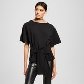 Mossimo Women's Raw Hem Knit Top with Tie Front Black