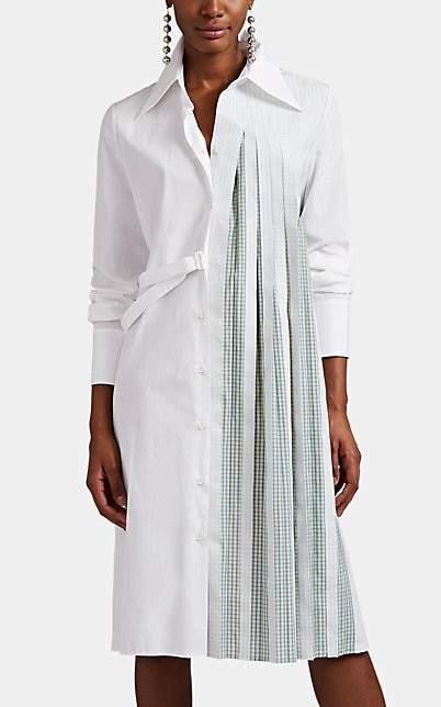 Maison Margiela Women's Pleated Cotton Wrap Shirtdress - White
