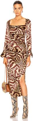Ganni Silk Stretch Satin Dress in Tannin | FWRD