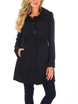 PinkBlush Black Wool-Blend Maternity Trench Coat