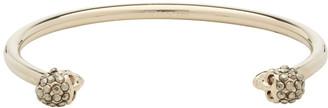 Alexander McQueen Gold and Black Thin Twin Skull Bracelet