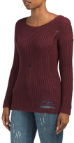 Juniors Destructed Pullover Sweater