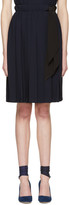 Miu Miu Navy Pleated Bow Skirt