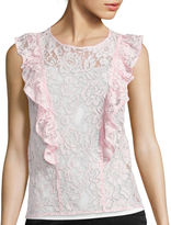 BELLE + SKY Sleeveless Lace Ruffle Blouse