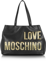 Love Moschino Black Eco Leather Tote Bag w/Signature Logo