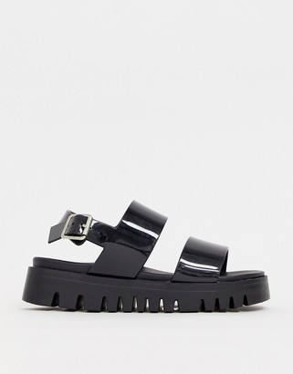 Asos Design DESIGN Fadey chunky jelly flat sandals-Black