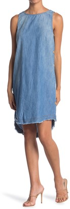 14th Place Washed Side Button Chambray Dress