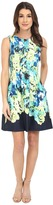 Vince Camuto Sleeveless Scuba Dress w/ Waist Seam and Overlap Skirt