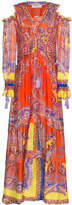 Etro Multicoloured silk dress with cold shoulder