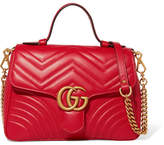 Gucci Gg Marmont Small Quilted Leather Shoulder Bag - Red