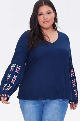 Forever 21 Plus Size Embroidered Peasant Top