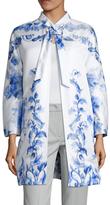 Valentino Silk Floral Print Overcoat
