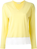 Fabiana Filippi V neck contrast sweatshirt - women - Cotton - 40