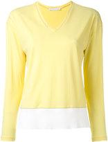 Fabiana Filippi V neck contrast sweatshirt - women - Cotton - 42
