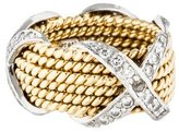 Tiffany & Co. Schlumberger Rope Six-Row Diamond X Ring