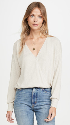 L'Agence Amber Long Sleeve Rib Wrap Top