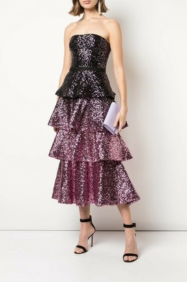 Marchesa Notte Strapless Sequin Ombre Midi Dress
