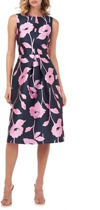 Kay Unger Nola Floral Jacquard A-Line Dress
