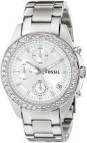 Fossil Women's ES2681 Stainless Steel Bracelet Black Glitz Analog Dial Chronograph Watch