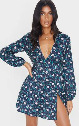 PrettyLittleThing Navy Floral Print Open Back Shift Dress