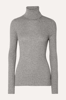 Handvaerk - Ribbed Pima Cotton And Alpaca-blend Turtleneck Sweater - Gray