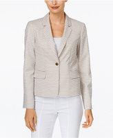 Calvin Klein Petite Striped One-Button Jacket