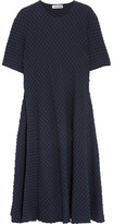 Jil Sander Stretch Cotton And Seersucker Midi Dress - Navy