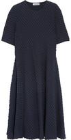 Jil Sander Stretch Cotton And Seersucker Midi Dress - Navy
