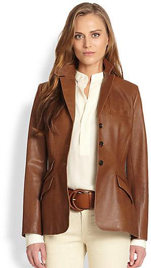 Ralph Lauren Blue Label Custom Leather Riding Jacket