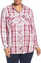 Melissa McCarthy Seven7 Plaid Flannel Shirt (Plus Size)