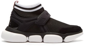 Moncler Baktha Suede And Mesh Bubble-sole Trainers - Womens - Black