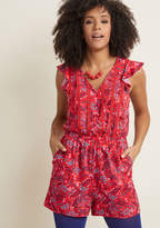 Anywhere and Everywhere Romper in Crimson Floral in S - by ModCloth