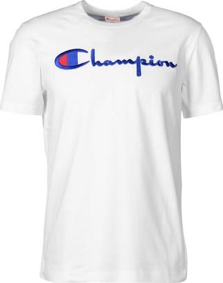 Champion T Shirt Script Logo - White