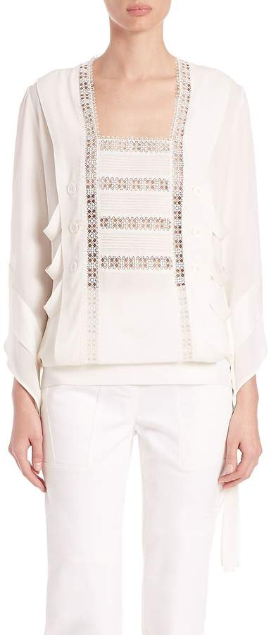 Derek Lam Women's Embroidered Lace Blouse