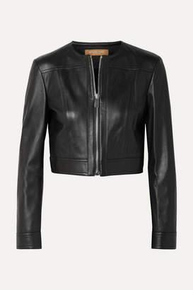 Michael Kors Cropped Leather Jacket - Black