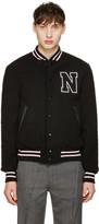 Noah Black Wool Teddy Varsity Bomber Jacket