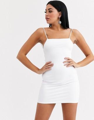 Lemon Lunar diamante chain back bodycon dress in white