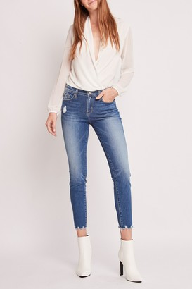 Flying Monkey Laguna Crop Mid Rise Hem Detail Crop Skinny Jeans
