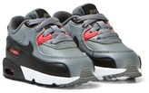 Nike Grey and Orange Air Max 90 Leather Infants Trainers