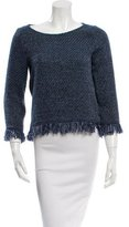 Maje Fringe-Trimmed Patterned Sweater