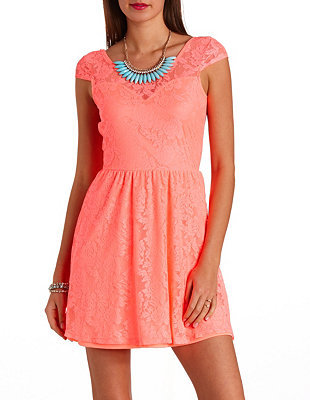 Charlotte Russe Neon Bow-Back Lace Skater Dress
