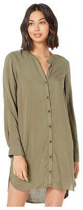 BCBGeneration Slit Sleeve Shirtdress TNW6245132 (Dusty Olive) Women's Dress