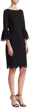 Teri Jon Bell Sleeve Scalloped Sheath Dress
