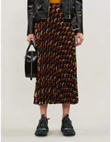 Sandro Abstract-print pleated high-waisted crepe midi skirt