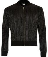 River Island Girls metallic black plisse bomber jacket