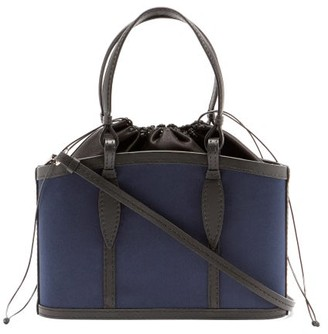 Hunting Season The Basket Leather-trimmed Satin Bag - Navy