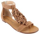 Sole Society Suede Sandals with Fringe - Koa