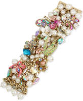 Betsey Johnson Gold-Tone Stone, Crystal and Imitation Pearl Floral Statement Bracelet