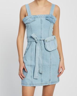 Missguided Zip Up Denim Dress with Belt Bag